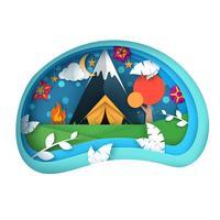 Illustrazione di viaggio Paesaggio di carta dei cartoni animati. Montagna, tenda, nuvola, luna.