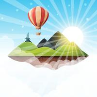 Illustrazione di paesaggio isola dei cartoni animati. Abete, montagna, sole, collina, vettore