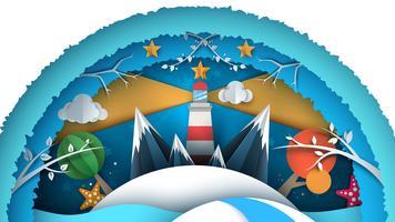 Paesaggio di carta di mare. Illustrazione di luce casa vettore