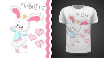 Danza coniglio - idea per t-shirt stampata vettore