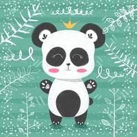Cute panda pattern - piccola principessa. vettore