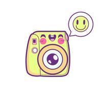 emoticon di adesivo fotocamera carina vettore