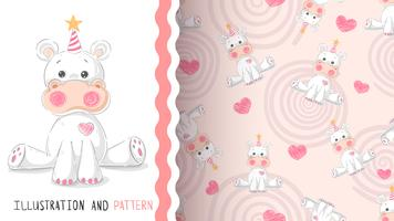Ippopotamo carino teddy - seamless