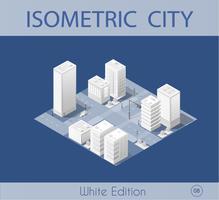 La città isometrica con grattacielo vettore