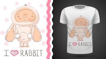 Cute baby rabbit - idea per t-shirt stampata vettore