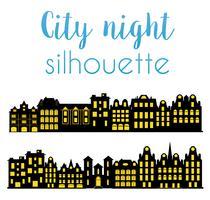 Silhouette notturna della città vettore
