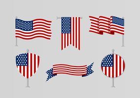 Collezione di bandiere americane vettore