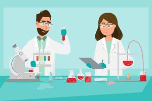 concetto medico. Gli scienziati uomo e donna ricercano in un laboratorio di laboratorio