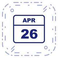 26 aprile Data su un calendario per un solo giorno