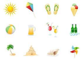 Set di icone vettoriali spiaggia due