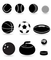 impostare icone sport palle nere silhouette illustrazione vettoriale