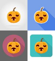 icone piane di zucca di Halloween illustrazione vettoriale