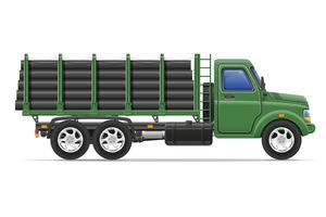 consegna e trasporto del camion del carico dell'illustrazione di vettore di concetto dei materiali da costruzione