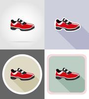 illustrazione piana di vettore delle icone delle scarpe di sport