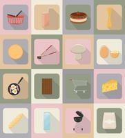 icone piane di cibo e oggetti illustrazione vettoriale
