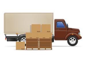 illustrazione di vettore di concetto di merci consegna e trasporto del camion del carico