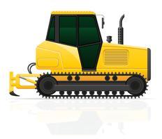 trattore a cingoli con l'illustrazione di vettore dell'aratro