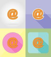 illustrazione di vettore delle icone piane di servizio di Internet