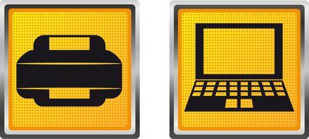 stampante e calcolatore delle icone per l'illustrazione di vettore di progettazione