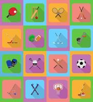illustrazione di icone piane di attrezzature sportive