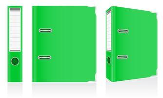 cartella verde legante anelli metallici per illustrazione vettoriale ufficio