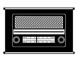 vecchia siluetta d'annata nera radiofonica del profilo dell'illustrazione di vettore delle azione dell'icona delle azione radiofoniche