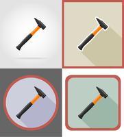 illustrazione piana di vettore delle icone degli strumenti della costruzione e di riparazione del martello