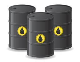 barili neri per l'illustrazione di vettore dell'olio