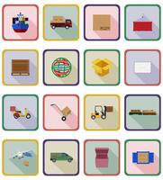icone piane di consegna illustrazione vettoriale