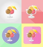 icone piane del gelato illustrazione vettoriale