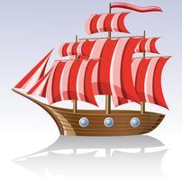vecchia nave a vela in legno vettore
