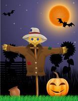 zucca di Halloween e spaventapasseri nel cielo notturno vettore