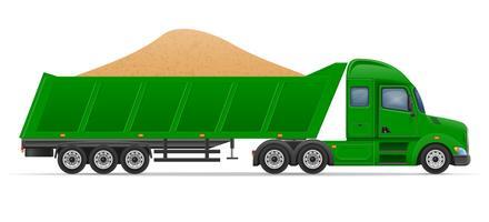 consegna e trasporto del rimorchio dei semi del camion dell'illustrazione di vettore di concetto dei materiali da costruzione