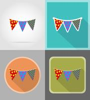 le bandiere per le icone piane di celebrazione vector l'illustrazione