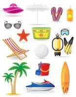 set di icone vettoriali spiaggia illustrazione