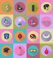 illustrazione piana di vettore delle icone dell'attrezzatura del gioco di sport
