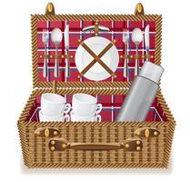 cestino per un picnic con stoviglie vettore