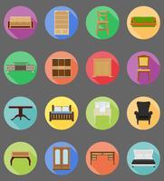 illustrazione piana di vettore delle icone stabilite della mobilia