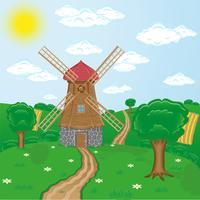 mulini a vento contro il paesaggio rurale vettore