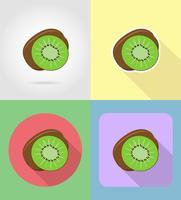 Icone stabilite piane dei kiwi con l'illustrazione di vettore dell'ombra