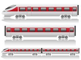 locomotiva del treno di velocità e illustrazione vettoriale di carro