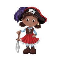 Illustrazione vettoriale di ragazza carina pirata
