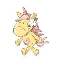 Magico unicorno carino, camminando sull'arcobaleno, scarabocchiare arte vivaio vettore
