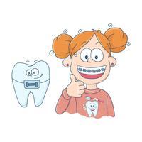 Arte sul tema dell'odontoiatria infantile. Denti con bretelle. vettore