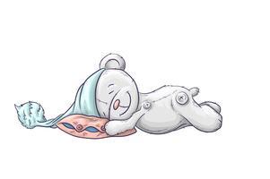 Orso sonnolento dei cartoni animati nel cappuccio. vettore