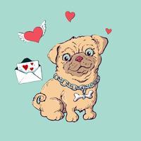 Seduta felice del cucciolo del fumetto, ritratto del collare d'uso del piccolo cane sveglio.