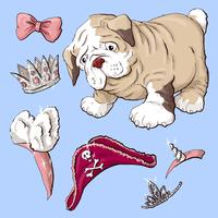 Cucciolo di cane felice del fumetto, ritratto del collare d'uso del piccolo cane sveglio.