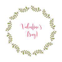 Telaio rotondo di vettore disegnato a mano con elementi floreali, erbe, foglie, fiori, ramoscelli, rami