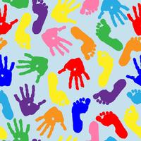 Stampa di palme e piedi per bambini. Modello senza soluzione di continuità