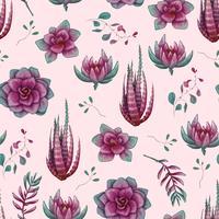 Modello senza cuciture decorativo disegnato a mano con cactus e succulente